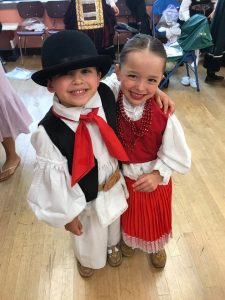 Kids dressed in Croatian costumes