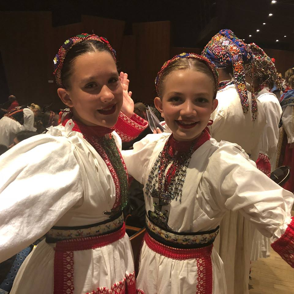Girls dressed in Croatian Dance dresses